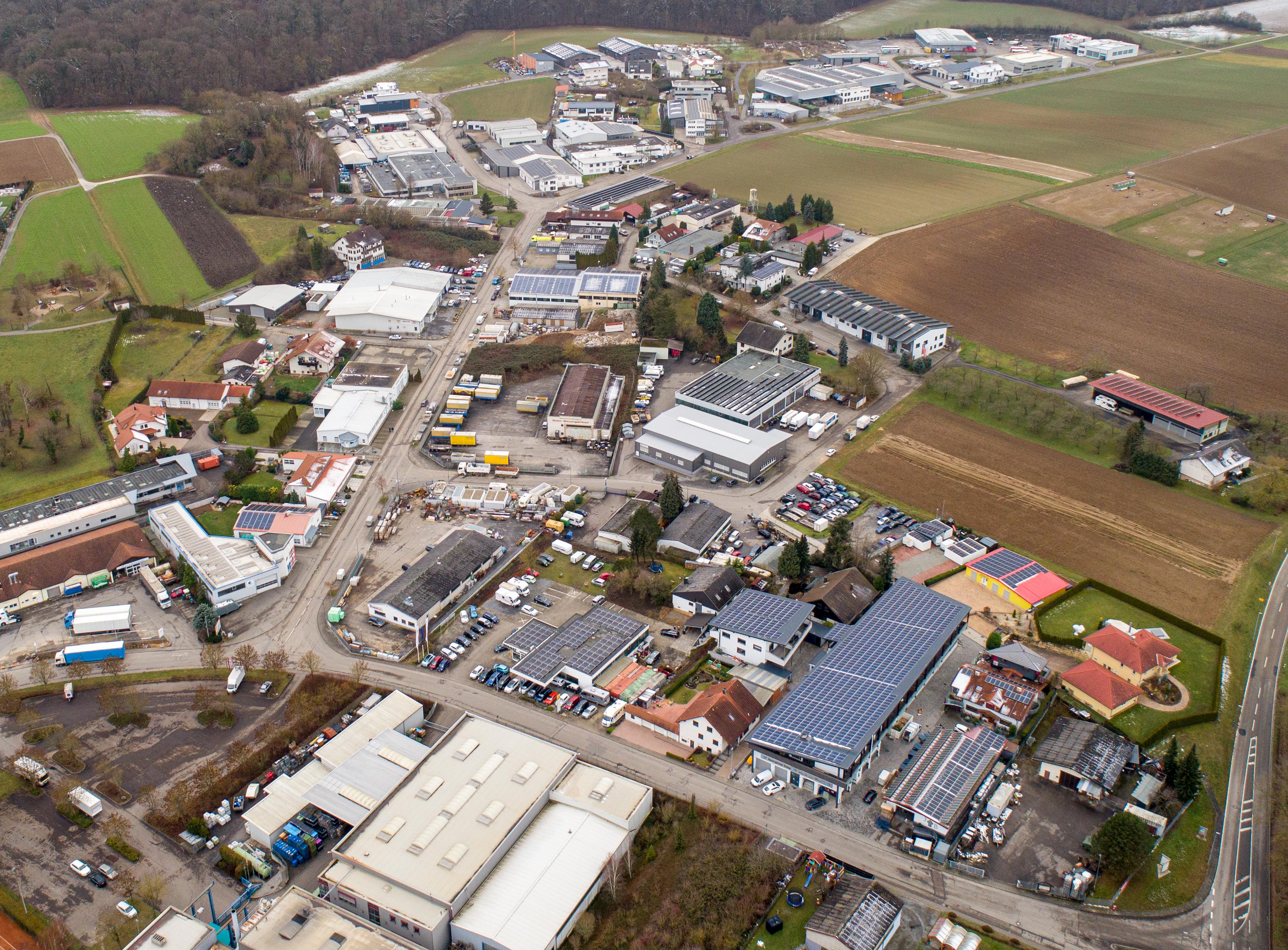 Luftaufnahme des Industriegebietes in Massenbachhausen